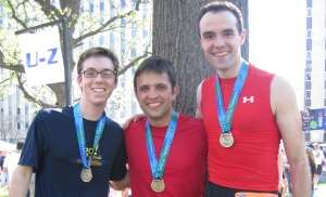 Mau (center) and I (right), finishers of the 2010 St. Louis Half Marathon