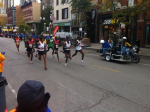 The elite athletes at the 2012 Chicago Marathon, where Kebede finished with a 2:04:38 PR, also in ideal conditions
