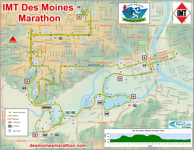 2012 Des Moines Marathon Map - A true tour of the city