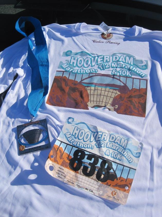 Long-sleeve tech t-shirt, medal and bib