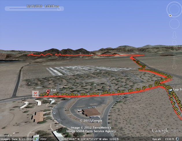 Google Earth rendering of the first / last five miles of the course.