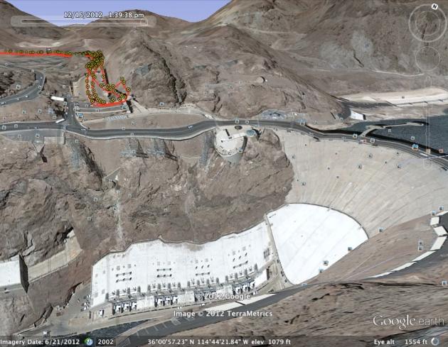 Google Earth rendering of the Dam turnaround.