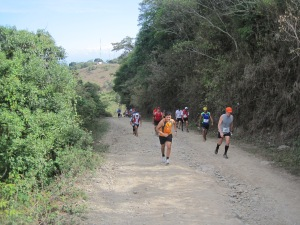 Still climbing, Chori on the left in the blue shirt