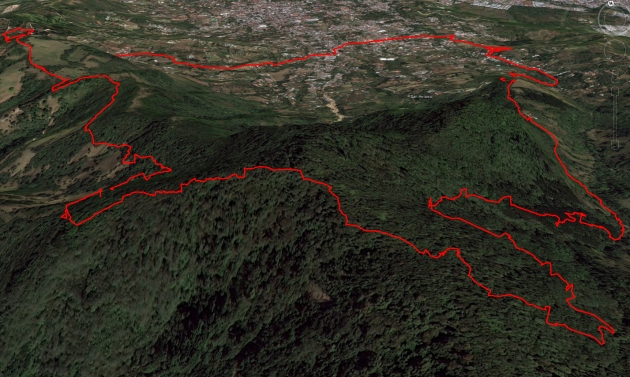 Google Earth Rendering of the Top of the Cerros de Escazú 21k