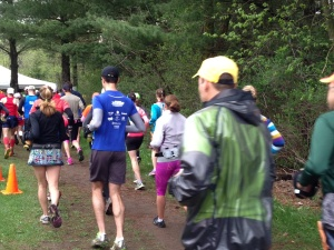 We are off (Jeff in the red singlet on the left, me in the blue / grey)