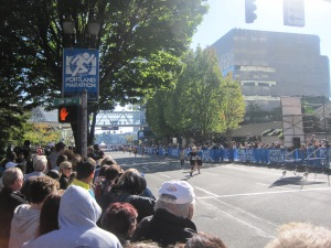 Runners approaching the finish line
