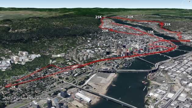 Portland Marathon Course Map (Google Earth)