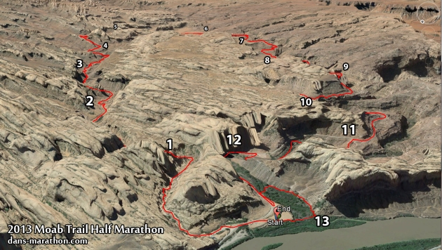 2013 Moab Trail Half Marathon Map (Google Earth)