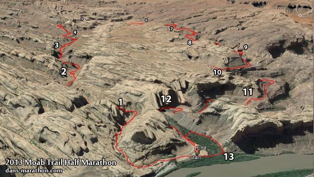 2013 Moab Trail Half Marathon Map (Google Earth)