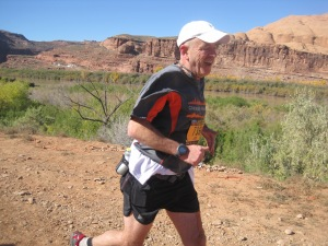 Jim finishing the 2013 Moab Trail Half Marathon, just 3 weeks after the Chicago Marathon