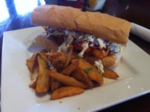 Shrimp Po' Boy (doesn't have to always be a beef burger) at New Orleans Hamburger & Seafood after the RNR NOLA Marathon