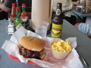 Central BBQ's Burger in Memphis after the Tupelo Marathon