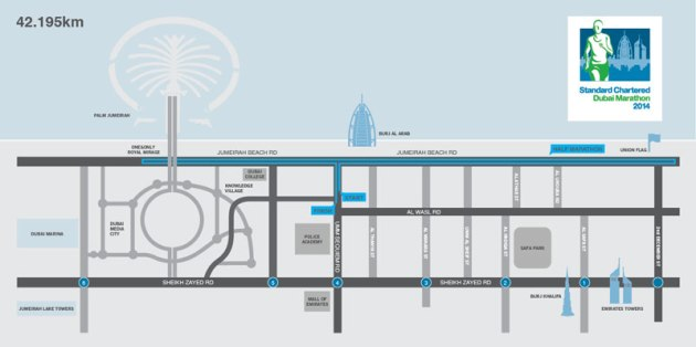 2014 Dubai Marathon Course Map