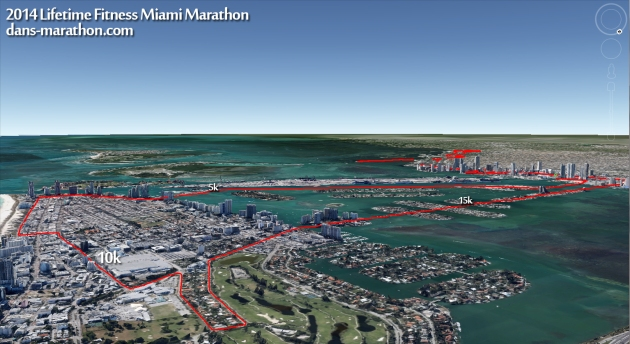 2014 Miami Marathon (First Half) Rendering (via Google Earth)