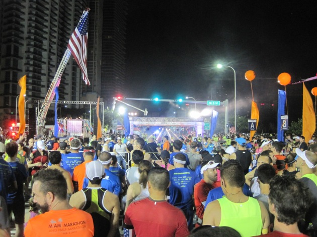 1. The starting line of the race at 6:15 AM.  The national anthem was played in a sultry jazz style by Ed Calle and almost all announcements were in English and Spanish.