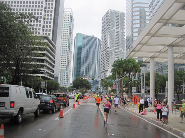 12. After a straight line down Brickell Avenue, the last mile is in the heart of downtown Miami.  Feeling tethered to the finish line, I somehow managed to pick up the pace.
