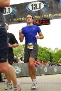 Finishing in 2009, my second half marathon ever.