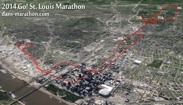 2014 Go! St. Louis Marathon Map (via Google Earth)