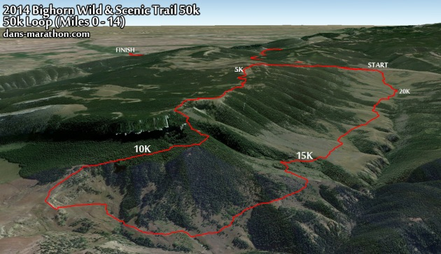 2014 Bighorn Wild & Scenic Trail 50k Google Earth Rendering of the First 14 miles