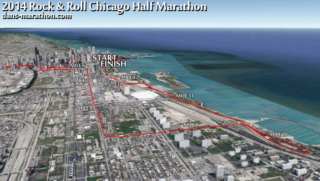 2014 Rock & Roll Chicago Half Marathon Google Earth Rendering (Second Half)