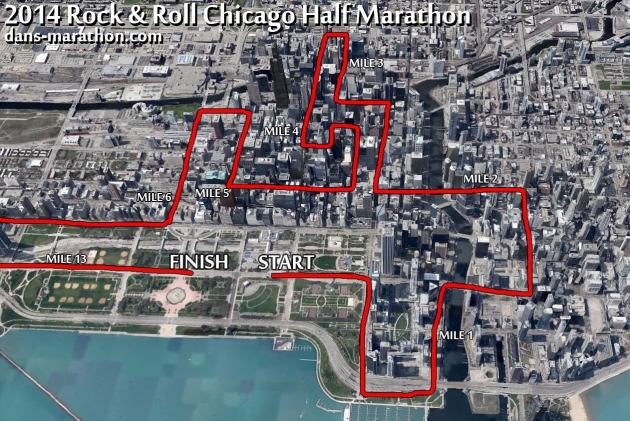 2014 Rock & Roll Chicago Half Marathon Google Earth Rendering (First Half)