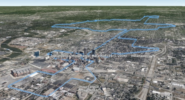 2014 Indianapolis Monumental Marathon Google Earth Rendering