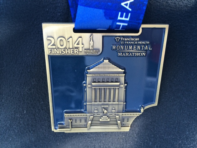 2014 Indianapolis Monumental Marathon Medal, the first of a 4-year series that come together to make a large frame.