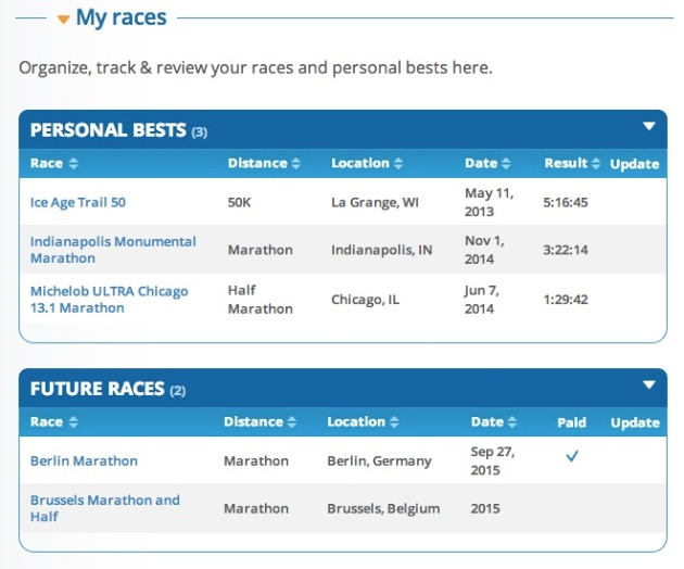 Further down your profile, the site organizes your races according to PR, Future and Past races.